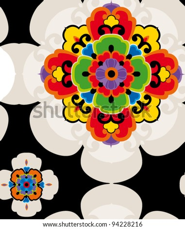 seamless pattern with abstract color flowers - stock vector