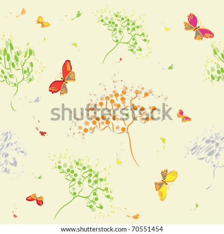 Seamless pattern with abstract dill, butterflies and birds