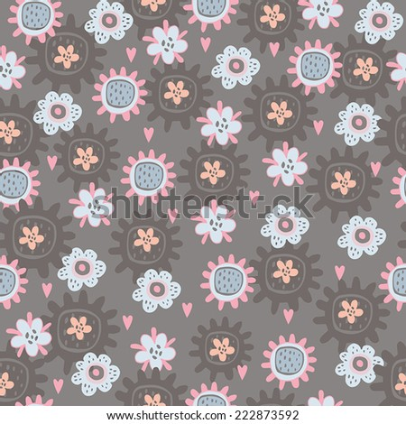 Seamless pattern with abstract flowers.Floral background,Colorful spring seamless pattern. - stock vector