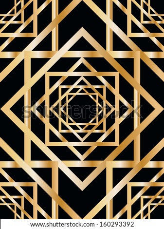 seamless pattern with abstract geometric pattern in art deco stile - stock vector