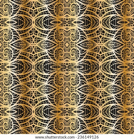 Seamless pattern with abstract geometric pattern in art nouveau stile. Black and gold.
