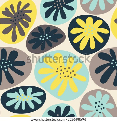Seamless pattern with abstract stylized flowers. Vintage floral background. Cute pattern with flowers in cartoon style - stock vector