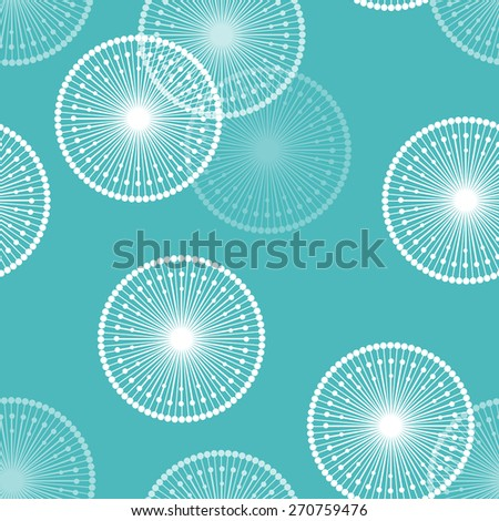 Seamless pattern with abstract white dandelions on blue background - stock vector