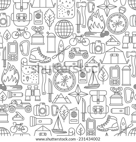 seamless pattern with adventure travel line icons - stock vector