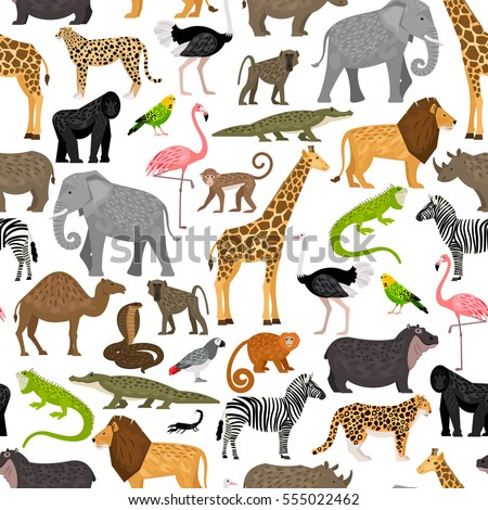 Seamless pattern with African animals and birds