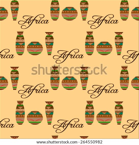 Seamless pattern with african dishes - stock vector