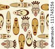 Seamless Pattern With African Mask - stock photo