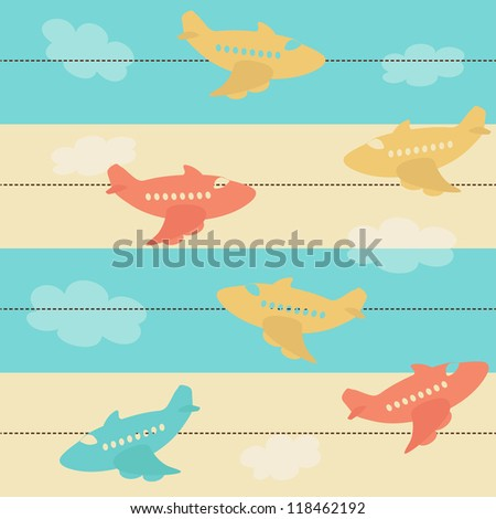 Seamless pattern with airplanes - stock vector