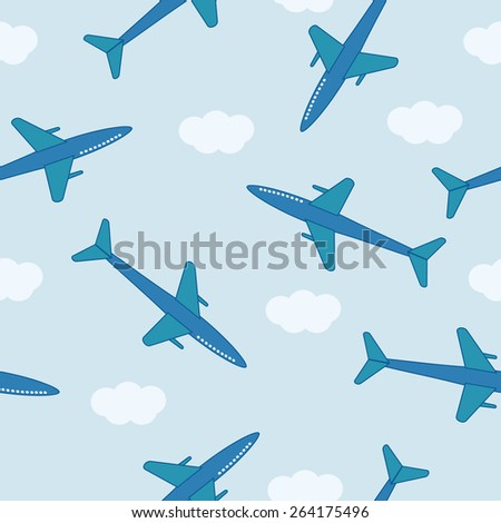 Seamless pattern with airplanes in the cloud sky - stock vector