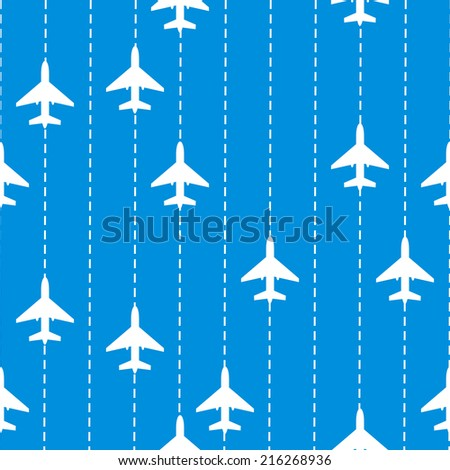 Seamless Pattern with Airplanes. Vector Background - stock vector