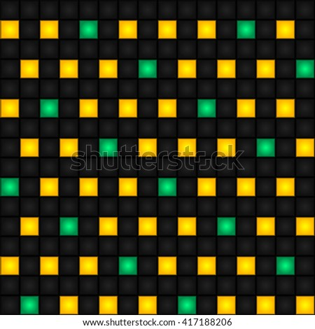 Seamless pattern with alternating yellow and turquoise squares. Futuristic illusion background. Vector. - stock vector