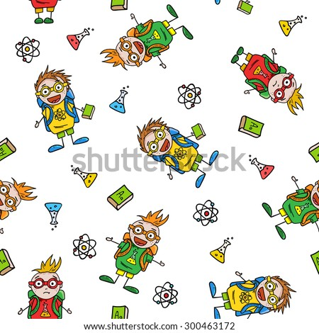 seamless pattern with amusing schoolboys and school accessories on white background, vector illustration - stock vector