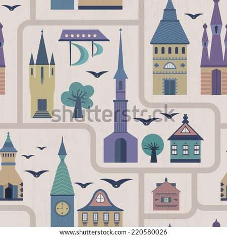 Seamless pattern with ancient town - castles, streets, houses, trees, birds, ship. Fairytale vector texture. - stock vector