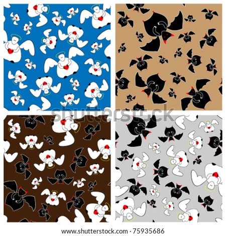 Seamless pattern with angels and devils in a few variations. - stock vector