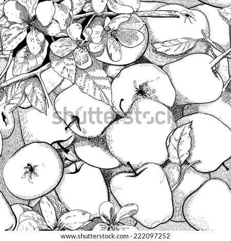 Seamless pattern with apples and apple tree flowers, line art - stock vector