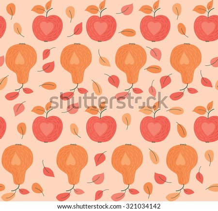 Seamless Pattern With Apples And Pears - stock vector