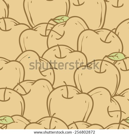 Seamless Pattern with Apples. Color vector illustration