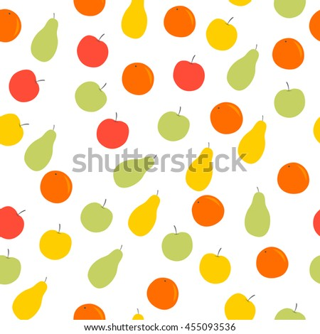 seamless pattern with apples, oranges and pears