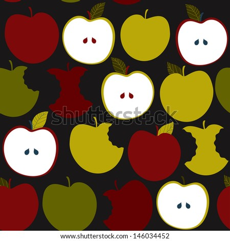 Seamless pattern with apples. Vector background - stock vector