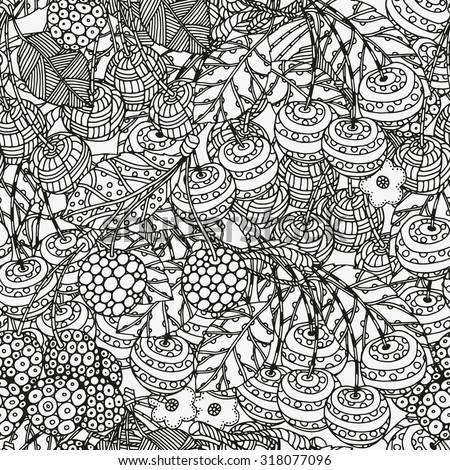 Seamless pattern with artistically cherries. Hand-drawn, ethnic, floral, retro, doodle, vector, zentangle, tribal design element.  Black and white  background. Made by trace from sketch. - stock vector