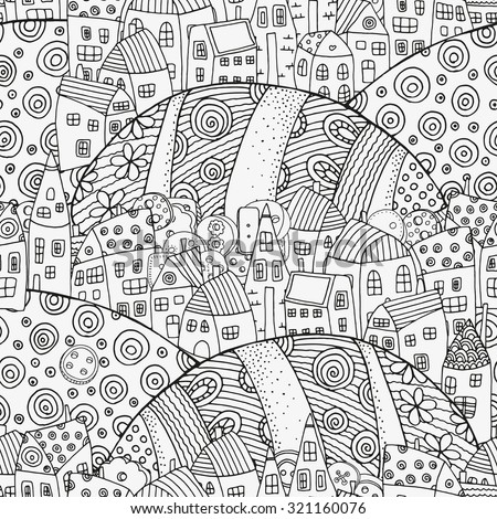 Seamless pattern with artistically houses. Magic City, fields, landscape. Pattern for coloring book. Made by trace from sketch. Ink pen. Zentangle. Black and white pattern in vector. - stock vector