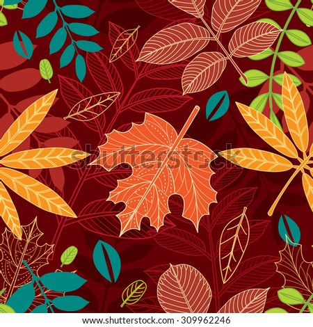 Seamless pattern with autumn leaves  - stock vector