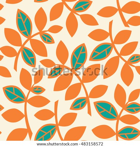 Seamless pattern with autumn leaves. Fall ornament. Vector illustration