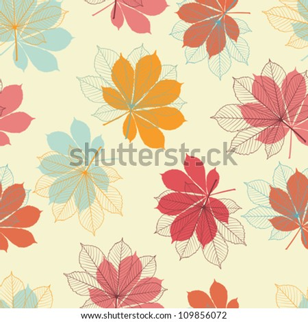 Seamless pattern with autumn leaves in a retro style. - stock vector