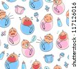 seamless pattern with babies (JPEG available in my gallery) - stock photo
