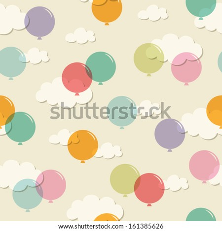 seamless pattern with balloons - stock vector