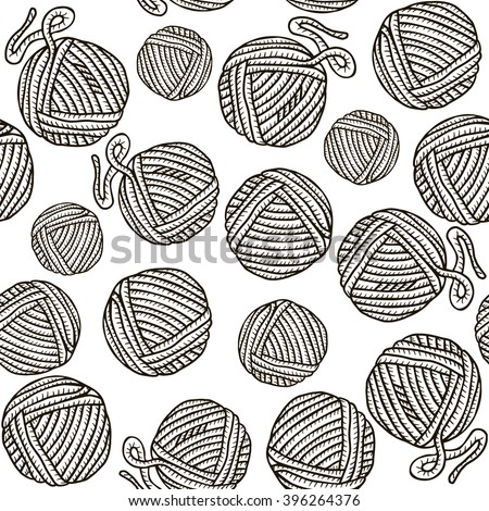 Seamless pattern with balls of yarn and knitting needles. Background in cartoon style. - stock vector