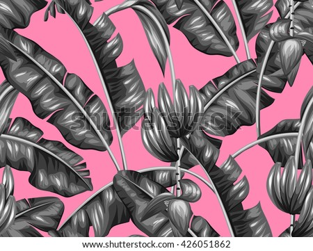 Seamless pattern with banana leaves. Decorative image of tropical foliage, flowers and fruits. Background made without clipping mask. Easy to use for backdrop, textile, wrapping paper. - stock vector