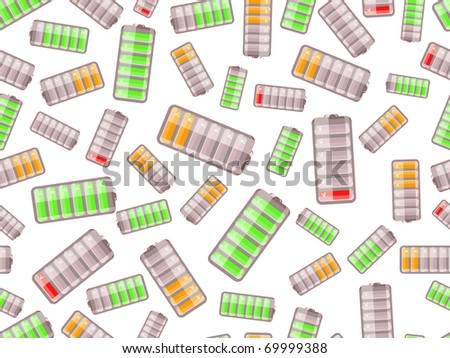 seamless pattern with batteries charged in different level on white background - stock vector