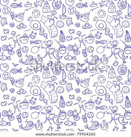 Seamless pattern with beach doodles in cartoon style - stock vector