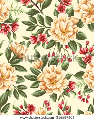 Seamless pattern with beautiful flowers in watercolor style.  - stock vector