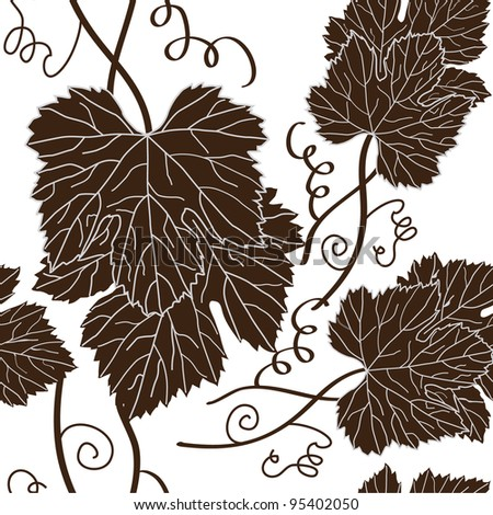 seamless pattern with beautiful grape leaves in brown white colors - stock vector