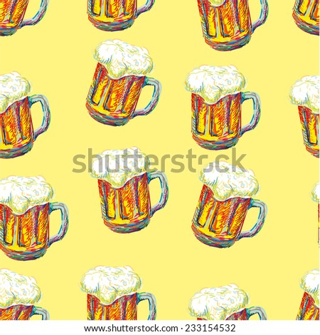 Seamless pattern with beer mugs - stock vector