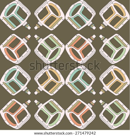 Seamless pattern with bicycle pedals.