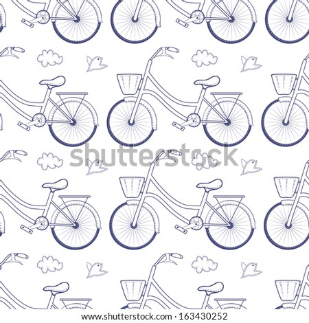 Seamless pattern with bicycles isolated on white background.  - stock vector
