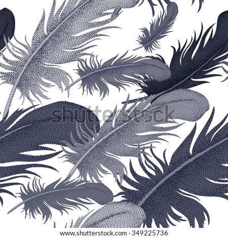 Seamless pattern with bird feathers. Decorative composition on a white background. - stock vector