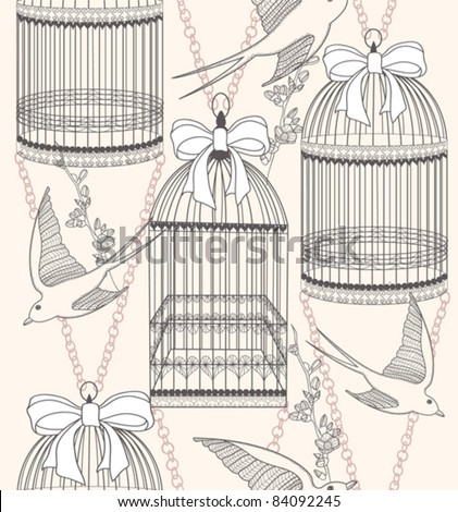 Seamless pattern with birdcages, flowers and birds. Floral and swallow background. - stock vector