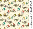 Seamless pattern with birdhouses and birds on the branches on polka dot background. Vector illustration. - stock vector