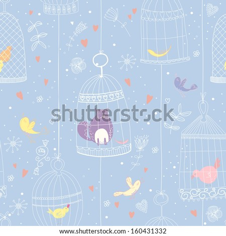 Seamless pattern with birds and birdcages. EPS 10. No transparency. No gradients. - stock vector