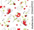 seamless pattern with birds and butterfly. Can be used for wallpaper, pattern fills, web page background, surface textures - stock vector