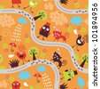 seamless pattern with birds and cats - stock