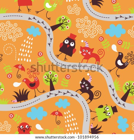 seamless pattern with birds and cats - stock vector