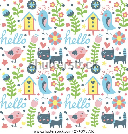 Seamless pattern with birds, cat and birdhouse