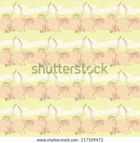 Seamless pattern with birds.Herons in the morning in the water - stock vector