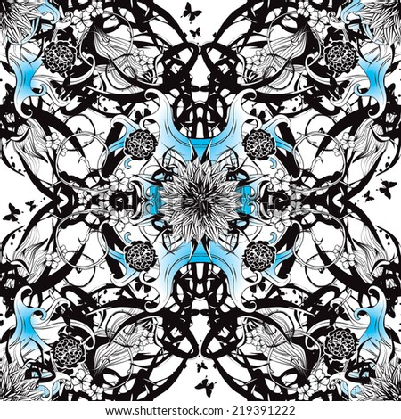 Seamless pattern with black and blue colors - stock vector
