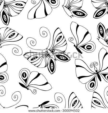 Seamless pattern with black and white butterflies on white background. - stock vector